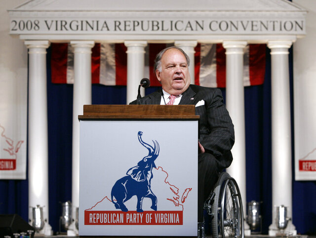 FILE - In this May 30, 2008 file photo, Chairman of the Virginia Republican Party John Hager, opens the 2008 Virginia Republican Convention in Richmond, Va. Hager, a former Virginia lieutenant governor who served from 1998 to 2002, died, Sunday, Aug. 23, 2020, at the age of 83. (AP Photo/Steve Helber, File)