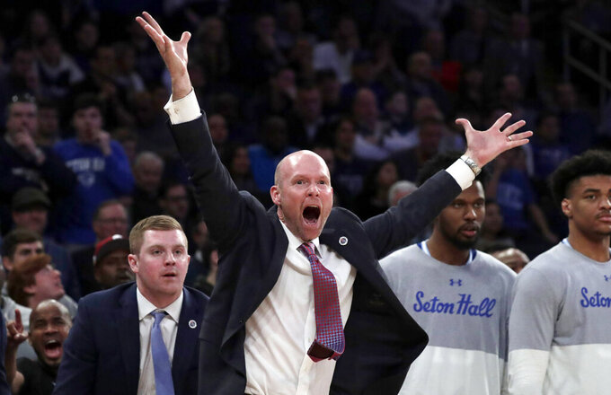 Seton Hall head coach Kevin Willard reacts during the second half of an NCAA college basketball game against Villanova in the championship of the Big East Conference tournament, Saturday, March 16, 2019, in New York. Villanova won 74-72. (AP Photo/Julio Cortez)