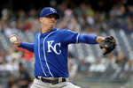 Kansas City Royals relief pitcher Heath Fillmyer throws a pitch to New York Yankees' Aaron Judge during the first inning of a baseball game, Saturday, April 20, 2019, in New York. (AP Photo/Julio Cortez)