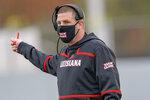 Louisiana-Lafayette head coach Billy Napier reacts to a call in the first half of an NCAA college football game against Louisiana Monroe in Monroe, La., Saturday, Nov. 28, 2020. (AP Photo/Matthew Hinton)