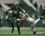 Colorado State quarterback Collin Hill (15) scrambles under pressure from Utah State linebacker Tipa Galeai (10) during the second half of an NCAA college football game Saturday, Nov. 17, 2018, in Fort Collins, Colo. (AP Photo/Jack Dempsey)