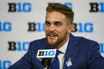 Purdue wide receiver Jackson Anthrop talks to reporters during an NCAA college football news conference at the Big Ten Conference media days, at Lucas Oil Stadium in Indianapolis, Friday, July 23, 2021. (AP Photo/Michael Conroy)
