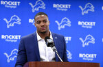 Detroit Lions defensive end Trey Flowers speaks to the media during a press conference at the NFL football team's training facility in Allen Park, Mich., Thursday, March 14, 2019. (David Guralnick/Detroit News via AP)