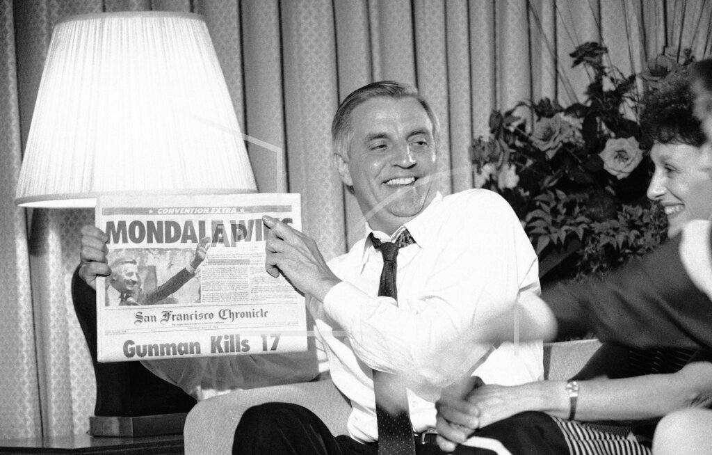 Watchf Associated Press Domestic News  California United States APHS211639 Walter Mondale Campaign 1984