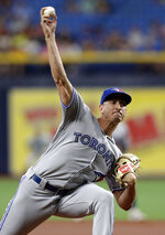 Toronto Blue Jays starting pitcher Jacob Waguespack delivers to the Tampa Bay Rays during the first inning of a baseball game Monday, Aug. 5, 2019, in St. Petersburg, Fla. (AP Photo/Chris O'Meara)