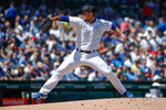 Chicago Cubs starting pitcher Jose Quintana delivers against the Washington Nationals during the first inning of a baseball game, Saturday, Aug. 24, 2019, in Chicago. (AP Photo/Kamil Krzaczynski)
