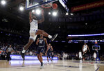 Seton Hall guard Myles Powell scores a basket on Georgetown during the first half of an NCAA college basketball game in the Big East men's tournament, Thursday, March 14, 2019, in New York. (AP Photo/Julio Cortez)