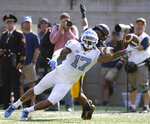 North Carolina wide receiver Anthony Ratliff-Williams (17) can't reach a pass during the second half of an NCAA college football game, Saturday, Sept. 1, 2018, in Berkeley, Calif. California's Camryn Bynum covered on the play. Cal won 24-17. (AP Photo/D. Ross Cameron)