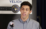 Milwaukee Brewers' Christian Yelich speaks at a news conference, Monday, July 8, 2019, in Cleveland. The 90th All-Star Game will be played on Tuesday in Cleveland. (AP Photo/Tony Dejak)