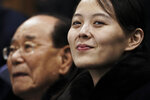 "FILE - In this Feb. 10, 2018, file photo, Kim Yo Jong, the sister of North Korean leader Kim Jong Un, waits with North Korea's nominal head of state, Kim Yong Nam, for the start of a women's hockey game at the 2018 Winter Olympics in Gangneung, South Korea. After giving the Biden administration the silent treatment for two months, North Korea this week marshalled two of the most powerful women in its leadership to warn Washington over combined military exercises with South Korea and the diplomatic consequences of its ""hostile"" policies toward Pyongyang. (AP Photo/Felipe Dana, File)"