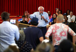 Democratic presidential candidate Sen. Bernie Sanders, I-Vt., responds to a question during a town hall meeting at the Victory Missionary Baptist Church in Las Vegas on Saturday, July 6, 2019. (Steve Marcus/Las Vegas Sun via AP)