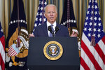President Joe Biden speaks before signing an executive order aimed at promoting competition in the economy, in the State Dining Room of the White House, Friday, July 9, 2021, in Washington. (AP Photo/Evan Vucci)