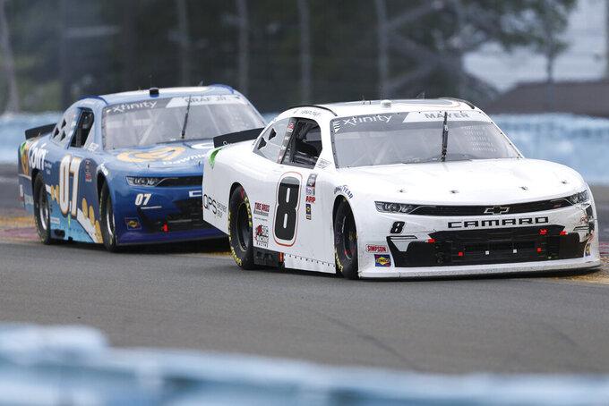 Sam Mayer (8) and Joe Graf Jr. (07) round Turn 1 during the NASCAR Xfinity Series auto race at Watkins Glen International in Watkins Glen, N.Y., Saturday, Aug. 7, 2021. (AP Photo/Joshua Bessex)