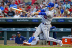 New York Mets' Michael Conforto hits an RBI single against the Minnesota Twins during the fifth inning of a baseball game Tuesday, July 16, 2019, in Minneapolis. (AP Photo/Bruce Kluckhohn)