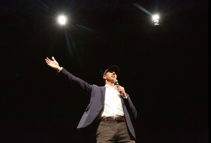 Democratic presidential candidate former Texas Rep. Beto O'Rourke speaks during a Town Hall event at Tufts University Thursday, Sept. 5, 2019, in Medford, Mass. (AP Photo/Winslow Townson)