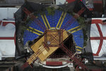 A steel framework providing a platform for workers and supports for a planned roof encases the damaged church cupola, during the early stages of reconstruction work at Nuestra Senora de Los Angeles, or Our Lady of Angels church, three years after an earthquake collapsed nearly half of its 18th-century dome in Mexico City, Friday, Oct. 16, 2020. It is so dangerous to stand beneath the remains of the dome that the tons of steel structures are made off-site and then gingerly lowered into the crater at the center where the dome once stood. (AP Photo/Rebecca Blackwell)