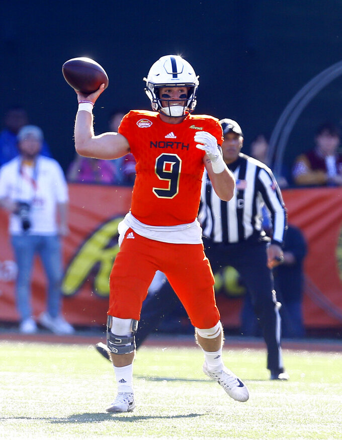 North quarterback Trace McSorley, of Penn State, throws pass during the first half of the Senior Bowl college football game, Saturday, Jan. 26, 2019, in Mobile, Ala. (AP Photo/Butch Dill)