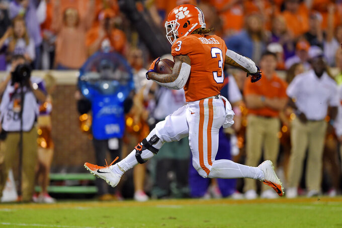Clemson's Amari Rodgers runs into the end zone for a touchdown during the first half of an NCAA college football game against Boston College, Saturday, Oct. 26, 2019, in Clemson, S.C. (AP Photo/Richard Shiro)