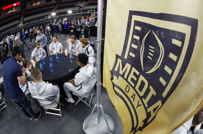 Alabama players participate during media day for the NCAA college football playoff championship game Saturday, Jan. 5, 2019, in Santa Clara, Calif. (AP Photo/Chris Carlson)