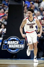 Gonzaga forward Brandon Clarke celebrates after scoring against Florida State during the second half an NCAA men's college basketball tournament West Region semifinal Thursday, March 28, 2019, in Anaheim, Calif. (AP Photo/Jae C. Hong)
