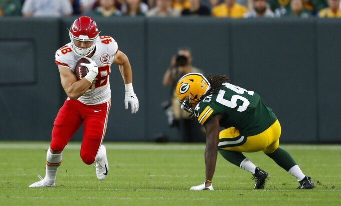 Kansas City Chiefs' Nick Keizer tries to get past Green Bay Packers' James Crawford during the first half of a preseason NFL football game Thursday, Aug. 29, 2019, in Green Bay, Wis. (AP Photo/Matt Ludtke)