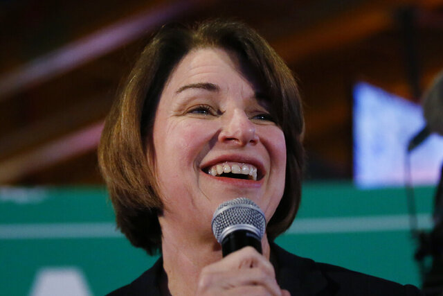 Democratic presidential candidate Sen. Amy Klobuchar, D-Minn., speaks at a campaign event at Jethro's BBQ'n Pork Chop Grill, Sunday, Feb. 2, 2020, in Johnston, Iowa. (AP Photo/Sue Ogrocki)