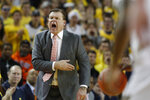 Illinois head coach Brad Underwood yells from the sideline during the first half of an NCAA college basketball game against Michigan, Saturday, Jan. 25, 2020, in Ann Arbor, Mich. (AP Photo/Carlos Osorio)