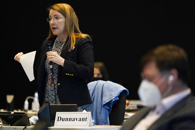 Virginia State Sen. Siobhan Dunnavant, Henrico, speaks on a bill requiring in person learning at state schools during the Senate session at the Science Museum in Richmond, Va., Thursday, Feb. 25, 2021. (AP Photo/Steve Helber)