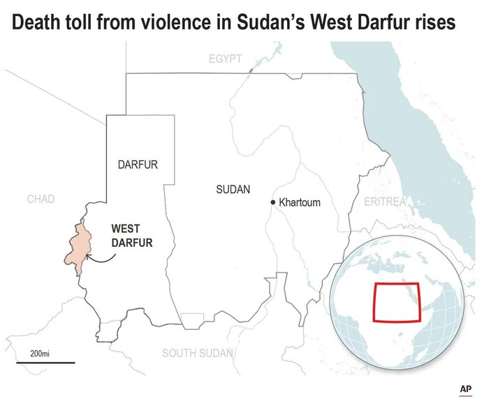 Map locates West Darfur