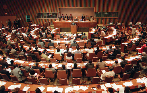 FILE - In this Tuesday, Sept. 10, 1996, file photo, the United Nations General Assembly meets for discussions on the Nuclear Test Ban Treaty at U.N. headquarters. The year 2021 marks the 25th anniversary of the signing of the Comprehensive Nuclear Test Ban Treaty, which has yet to enter into force for lack of ratification by eight crucial nations but has helped reduce such tests. And it's the 75th anniversary of the General Assembly's very first resolution, which sought proposals to eliminate atomic weapons. (AP Photo/Osamu Honda, File)