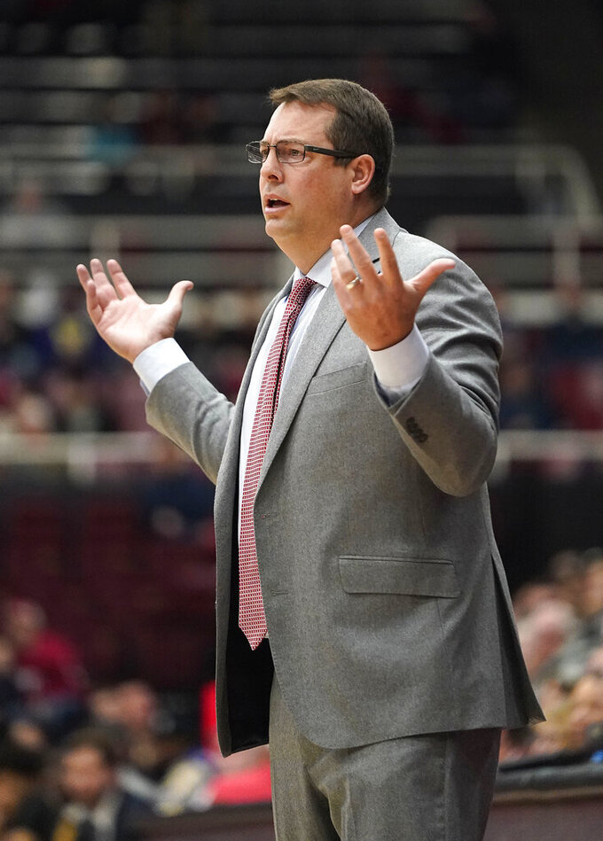 Stanford head coach Jerod Haase reacts to a foul during the first half against Washington in an NCAA college basketball game Thursday, Jan. 9, 2020, in Stanford, Calif. (AP Photo/Tony Avelar)