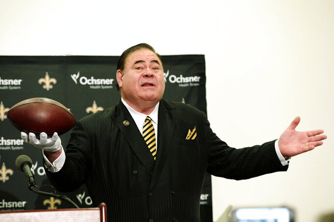 FILE - In this Oct. 8, 2018, file photo, NFL Hall of Fame President David Baker talks to the media after an NFL football game in New Orleans. The Pro Football Hall of Fame will have three members livestream a session Friday, May 22, 2020, with Ohio youngsters as part of its Strong Youth Strong Community program. (AP Photo/Bill Feig, File)