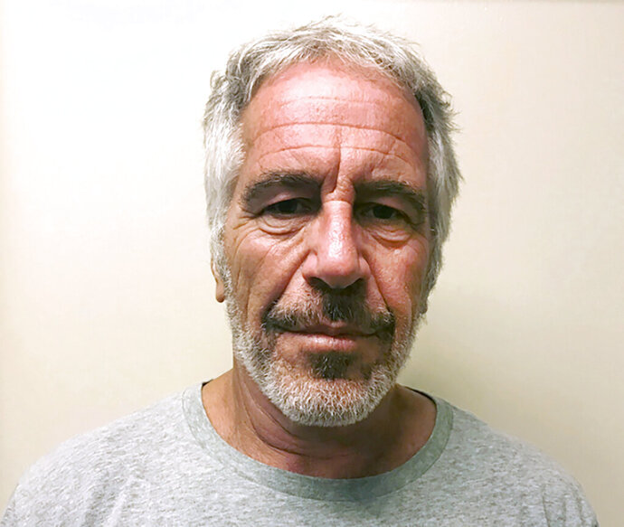FILE - This March 28, 2017, file photo, provided by the New York State Sex Offender Registry, shows Jeffrey Epstein. Federal prosecutors offered a plea deal to two correctional officers responsible for guarding Epstein on the night of his death, but the officers have declined the offer, people familiar with the matter told The Associated Press. (New York State Sex Offender Registry via AP, File)