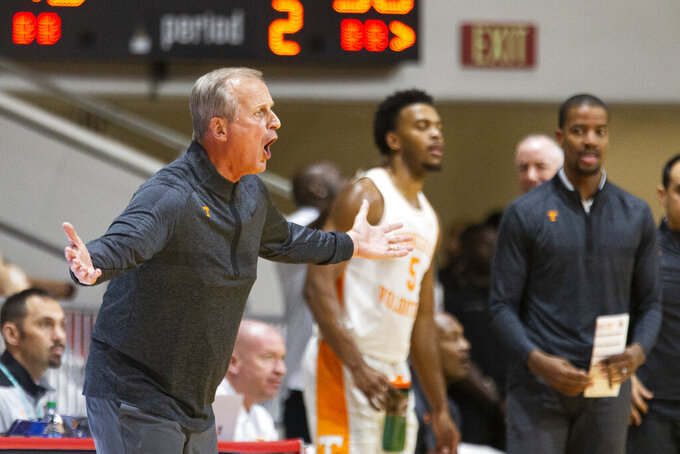 Tennessee head coach Rick Barnes reacts in the second half of an NCAA college basketball game against Florida State at the Emerald Coast Classic in Niceville, Fla., Friday, Nov. 29, 2019. (AP Photo/Mark Wallheiser)