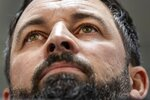 Santiago Abascal, leader of Vox Party attends a press conference in Madrid, Spain, Monday, Nov. 11, 2019. The far-right Vox party is poised to become the country's third political force, more than doubling its presence in the parliament's lower house from 24 to 53 deputies only six months after its debut. (AP Photo/Bernat Armangue)