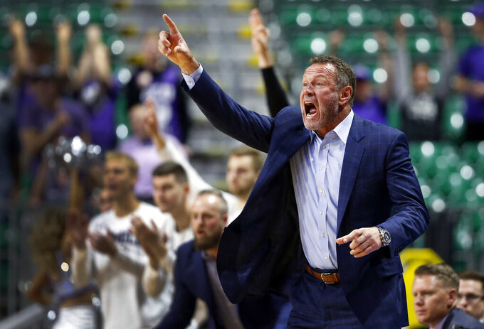 Grand Canyon coach Dan Majerle calls out to players during an NCAA college basketball game against New Mexico State for the Western Athletic Conference men's tournament championship Saturday, March 16, 2019, in Las Vegas. New Mexico State won 89-57. (AP Photo/Steve Marcus)