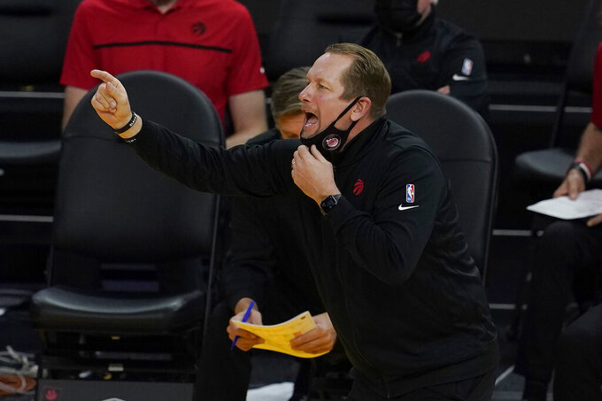 Toronto Raptors head coach Nick Nurse gestures during the second half of his team's NBA basketball game against the Golden State Warriors in San Francisco, Sunday, Jan. 10, 2021. (AP Photo/Jeff Chiu)