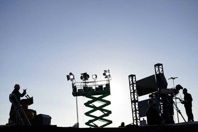 Democratic presidential candidate former Vice President Joe Biden speaks at a rally at the Minnesota State Fairgrounds in St. Paul, Minn., Friday, Oct. 30, 2020. (AP Photo/Andrew Harnik)
