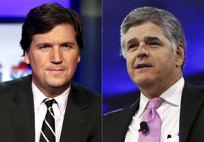 This combination photo shows, Tucker Carlson, host of