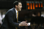 Vanderbilt head coach Bryce Drew watches the action in the first half of an NCAA college basketball game against Tennessee State, Saturday, Dec. 29, 2018, in Nashville, Tenn. (AP Photo/Mark Humphrey)