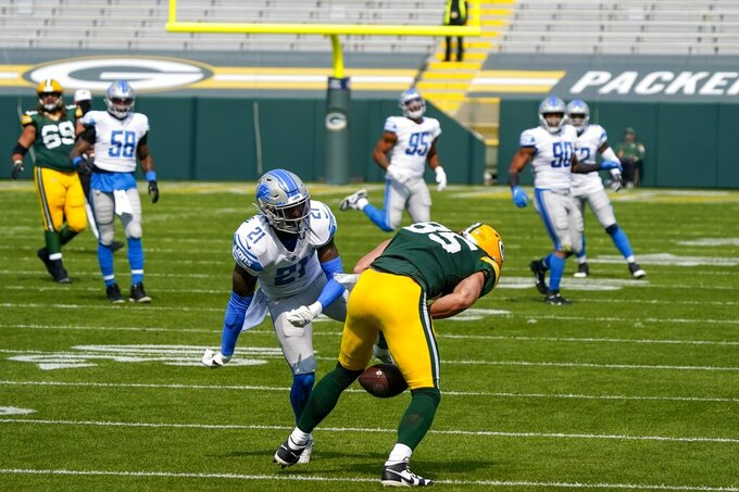 Detroit Lions' Tracy Walker breaks up a pass intended for Green Bay Packers' Robert Tonyan during the first half of an NFL football game Sunday, Sept. 20, 2020, in Green Bay, Wis. (AP Photo/Morry Gash)
