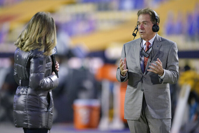 Alabama head coach Nick Saban speaks to CBS Sports before an NCAA college football game against LSU in Baton Rouge, La., Saturday, Dec. 5, 2020. (AP Photo/Matthew Hinton)