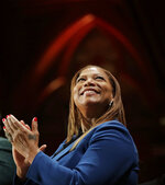 Music artist and actress Queen Latifah applauds during ceremonies at Harvard University awarding the W.E.B. Dubois Medals for contributions to black history and culture, Tuesday, Oct. 22, 2019, in Cambridge, Mass. (AP Photo/Elise Amendola)