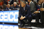 Virginia coach Tony Bennett watches during the team's NCAA college basketball game against Clemson on Wednesday, Feb. 5, 2020, in Charlottesville, Va. (Erin Edgerton/The Daily Progress via AP)