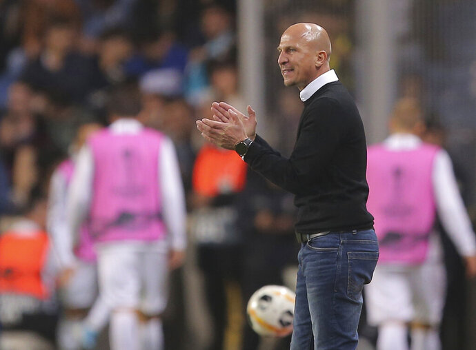 FILE  - In this Oct. 24, 2019, file photo, Wolfsberg coach Gerhard Struber reacts during a Europa League Group J soccer match againsy Istanbul Basaksehir at Fatih Terim stadium in Istanbul, Turkey. The New York Red Bulls hired Gerhard Struber as their coach Tuesday, Oct. 6, 2020, giving the veteran his first U.S. coaching job. (AP Photo/File)