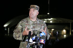 Colonel Patrick MIller, 88th Air Base Wing and Installation Commander, answers questions during a news conference after a lockdown at Wright-Patterson Air Force Base Friday, Sept. 10, 2021, in Dayton, Ohio. The base was put on lockdown due to a report of an active shooter but was later given the all clear. (AP Photo/Jay LaPrete)