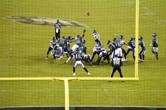 Seattle Seahawks' Jason Myers (5) kicks a field goal during the second half of an NFL football game against the Philadelphia Eagles, Monday, Nov. 30, 2020, in Philadelphia. (AP Photo/Derik Hamilton)