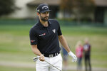 Adam Hadwin, of Canada, follows his hit onto the first green of the Silverado Resort North Course during the final round of the Safeway Open PGA golf tournament Sunday, Sept. 29, 2019, in Napa, Calif. (AP Photo/Eric Risberg)