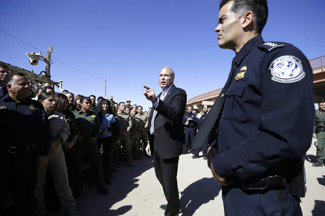 FILE - In this Oct. 29, 2019, file photo, U.S. Customs and Border Protection Acting Commissioner Mark A. Morgan holds a press conference in El Paso, Texas. Morgan said Tuesday, Feb. 11, 2020, that border officials in Washington state were