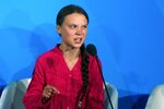 FILE - In this Sept. 23, 2019, file photo, environmental activist Greta Thunberg, of Sweden, addresses the Climate Action Summit at the United Nations General Assembly at U.N. headquarters. A statement she made during the summit is listed on a Yale Law School librarian's list of the most notable quotes of 2019. (AP Photo/Jason DeCrow, File)
